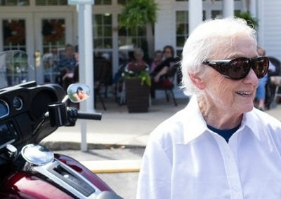 Mildred, 93, rides a motorcycle for the first time