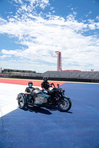 David and drive inside motorcycle on Circuit of The Americas track
