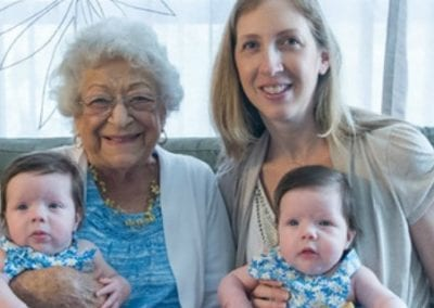 Ruth Visits Her Twin Great-granddaughters